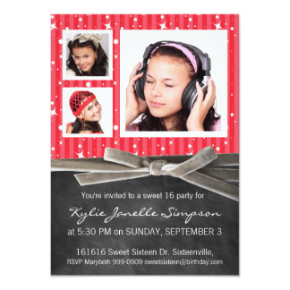Chalkboard Sweet 16 with 3 Photos Personalized Invite