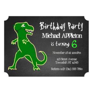 "Chalkboard T-Rex Dinosaur Birthday Invitations 5"" X 7"" Invitation Card"