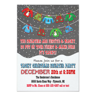 Chalkboard Tacky Christmas Sweater Invitations