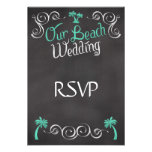 Chalkboard Teal Beach Wedding Matching RSVP Reply
