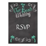 Chalkboard Teal Beach Wedding Matching RSVP Reply