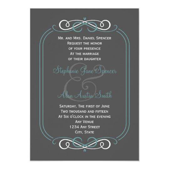 Chalkboard Teal Wedding Invitation