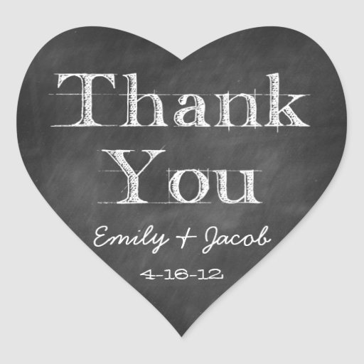 Chalkboard Thank You Heart Favor Tags Heart Stickers