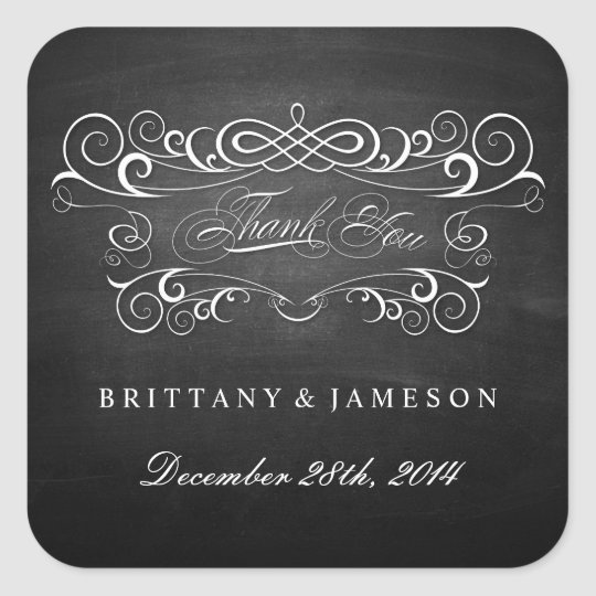 Chalkboard Thank You Stickers Wedding Favours