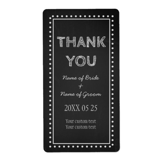 Chalkboard Thank You Wedding Favour Labels