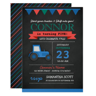 Chalkboard Tractor/Farm Birthday Party Invitation