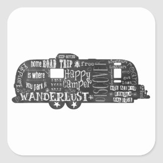 Chalkboard Trailer Square Sticker