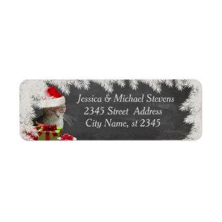 Chalkboard trendy funny holiday wise Santa cat Return Address Label