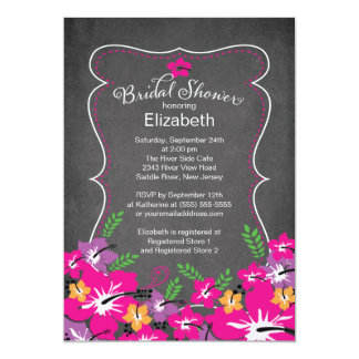 Chalkboard Tropical Hibiscus Flowers Bridal Shower 13 Cm X 18 Cm Invitation Card