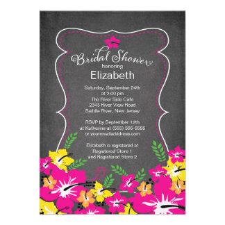 Chalkboard Tropical Hibiscus Flowers Bridal Shower Custom Invitation