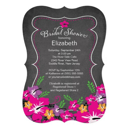 Chalkboard Tropical Hibiscus Flowers Bridal Shower Personalized Invite