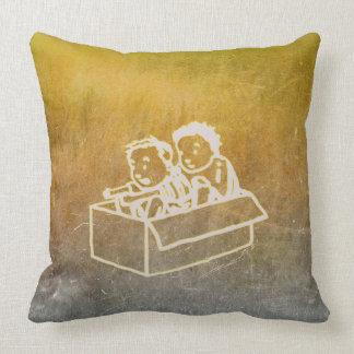 Chalkboard Two Boys In Box Doodles Wall Gray Cushion