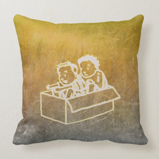 Chalkboard Two Boys In Box Doodles Wall Gray Throw Pillow