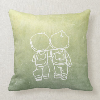 Chalkboard Two Boys Walking Doodles Green Gray Cushion