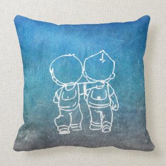 Chalkboard Two Boys Walking  Street-art Doodles Cushion