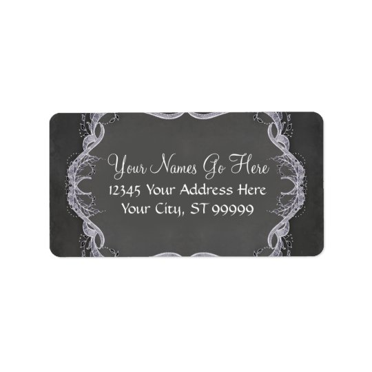 Chalkboard Typographic Leaf Swirl Rustic Wedding Address Label