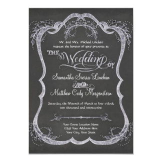 Chalkboard Typographic Leaf Swirl Rustic Wedding Card