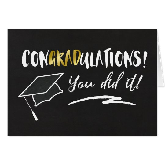 Chalkboard & Typography Graduation Pun Card