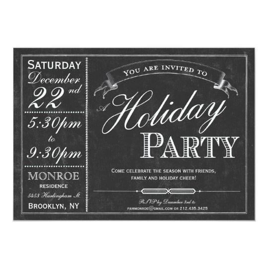 Chalkboard Typography Holiday Party Invitation