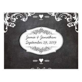 Chalkboard Typography Weddings Postcard