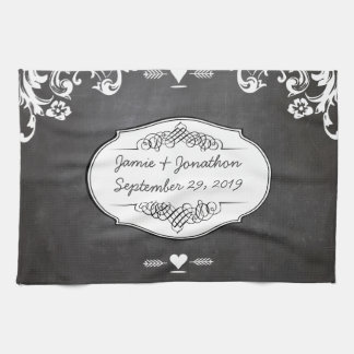 Chalkboard Typography Weddings Tea Towel