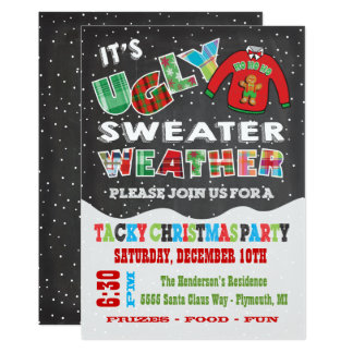 Chalkboard UGLY Christmas Sweater Invitations