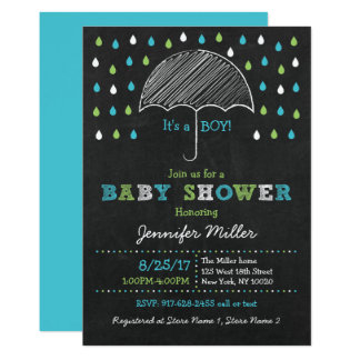 Chalkboard Umbrella Baby Shower Card