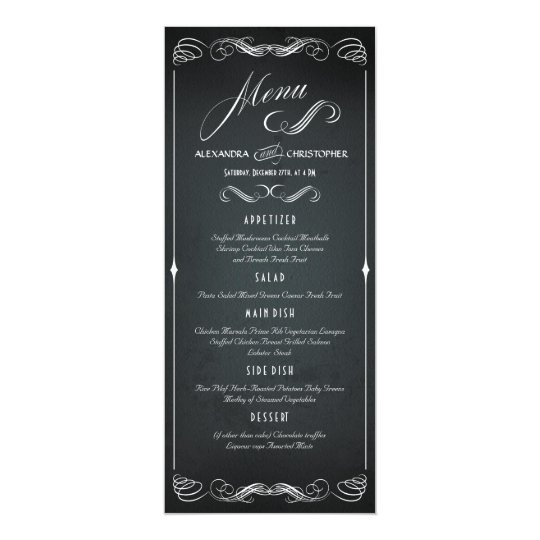 Chalkboard Vintage Bold Typography Wedding Menu Card