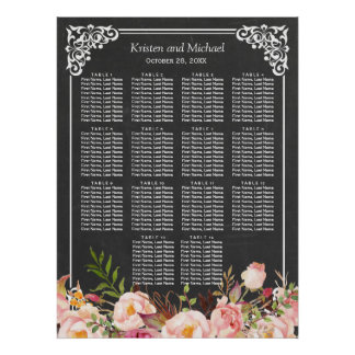 Chalkboard Vintage Floral Wedding Seating Chart Poster