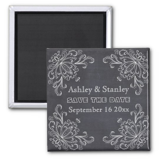 Chalkboard, vintage flourish wedding Save the Date Square Magnet