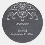 Chalkboard vintage flourish wedding Save the Date Round Stickers