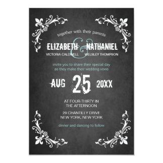 Chalkboard Vintage Romance Wedding Invitation