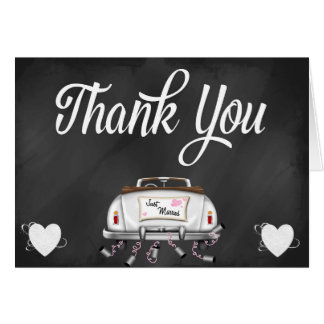 Chalkboard Vintage Wedding Car Thank You Note Card