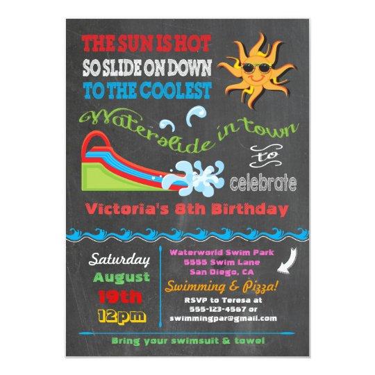 Chalkboard Water slide Pool birthday party Card
