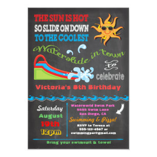 Chalkboard Water slide Pool birthday party Invitation