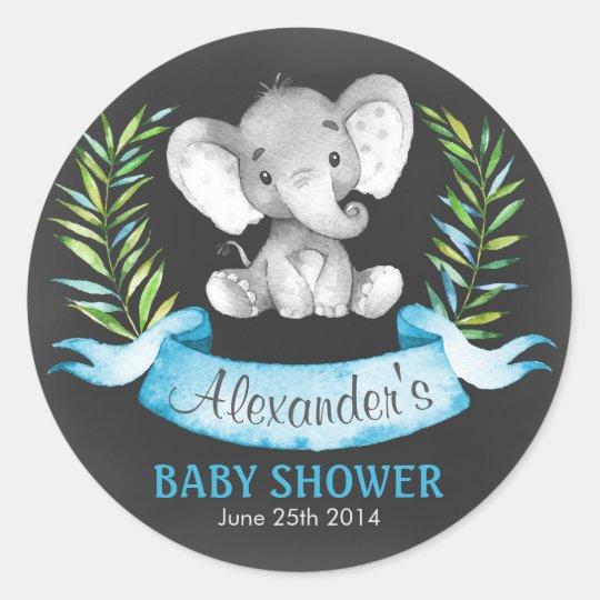 Chalkboard Watercolor Elephant Boy Baby Shower Classic Round