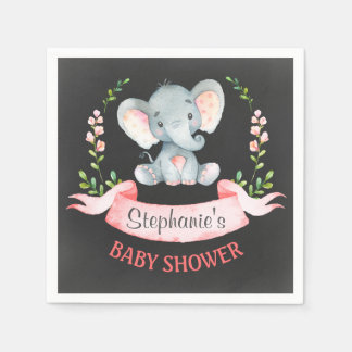Chalkboard Watercolor Elephant Girl Baby Shower Disposable Serviettes