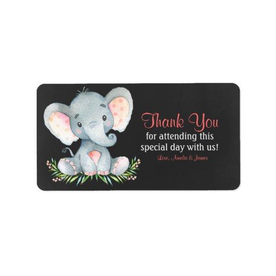 Chalkboard Watercolor Elephant Girl Thank You Label