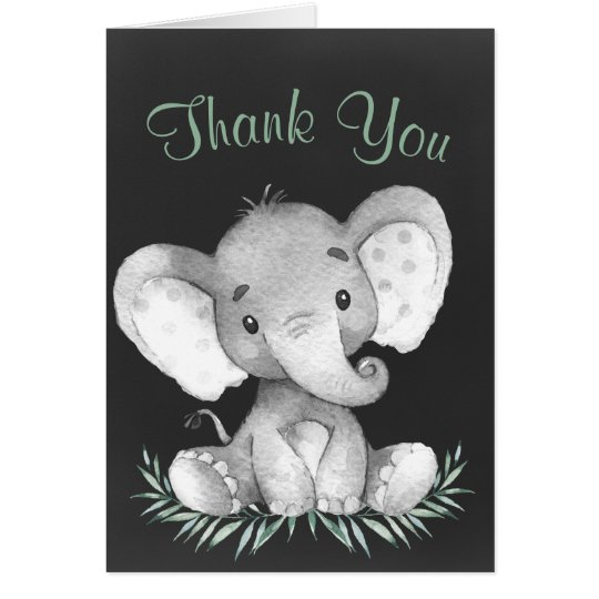 Chalkboard Watercolor Elephant Thank You Card