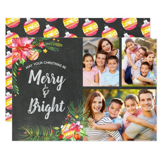 Chalkboard Watercolor Floral 3 Photo Holiday Card