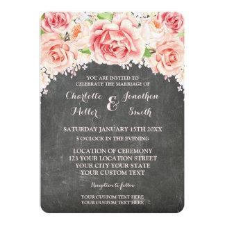 Chalkboard Watercolor Floral Wedding Invitations