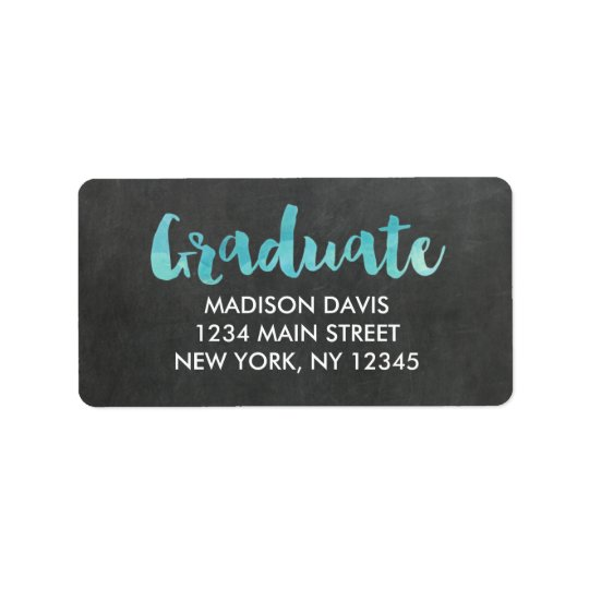 Chalkboard Watercolor Graduation Address Labels