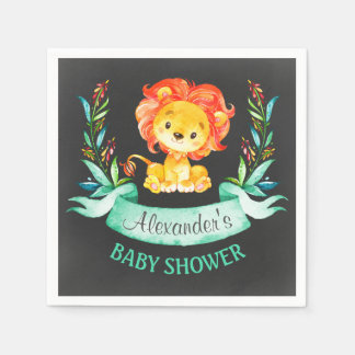 Chalkboard Watercolor Lion Baby Shower Disposable Napkins