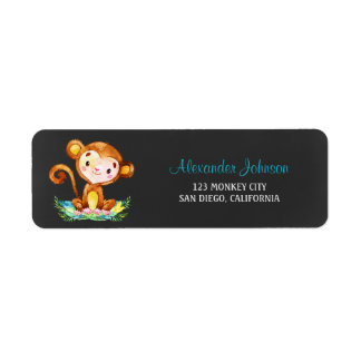 Chalkboard Watercolor Monkey Boy Return Address Label