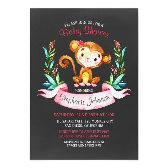 Chalkboard Watercolor Monkey Girl Baby Shower Card