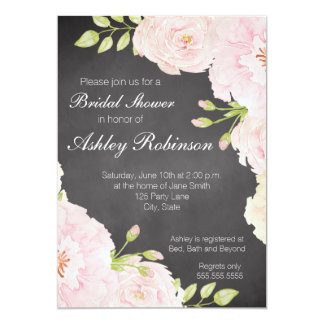 Chalkboard Watercolor Roses Bridal Shower 13 Cm X 18 Cm Invitation Card