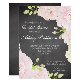 Chalkboard Watercolor Roses Bridal Shower Card
