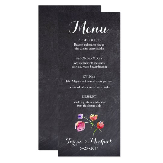 Chalkboard Watercolour Flower Menu card, custom Card