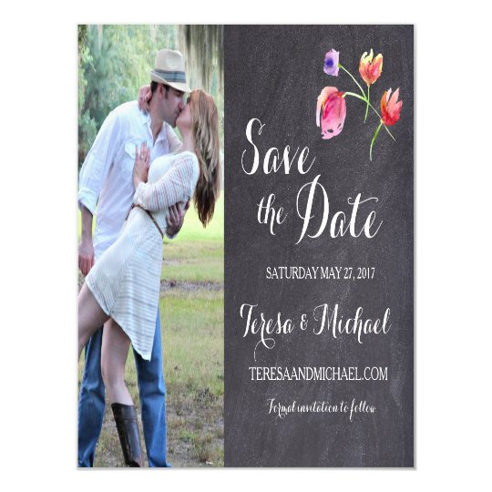 Chalkboard Watercolour Flower Save the date magnet