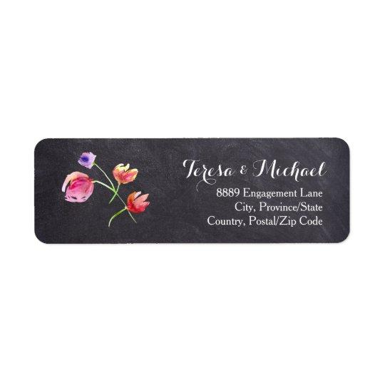 Chalkboard Watercolour Flower Wedding Return label
